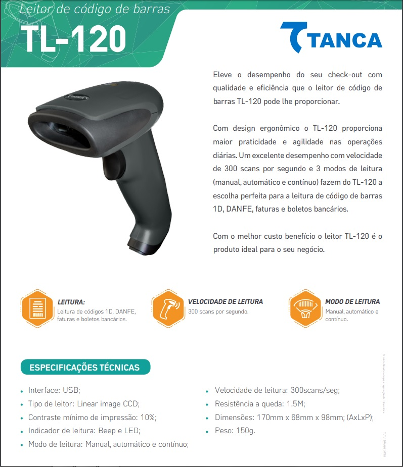 LEITOR DE CÓDIGO DE BARRAS TANCA CCD PRETO Tl-120 USB |
